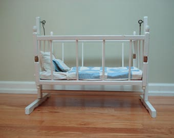 Gorgeous vintage doll cradle with bedding - all wood