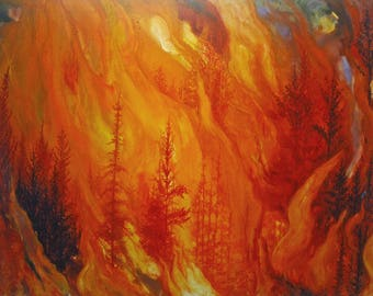 Forest Inferno an original watercolor on canvas