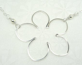 BLOSSOM NECKLACE, sterling silver flower necklace