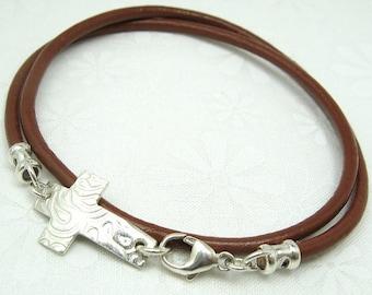 LEATHER WRAP BRACELET with handmade sideways horizon cross charm sterling silver leather bracelet
