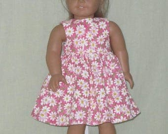 American Girl 18 inch Doll Size Dress Daisies on Pink