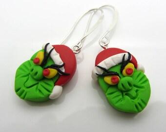 Christmas Grinch Earrings Polymer Clay Earrings Holiday Earrings Dangle Drop Earrings Beaded Earrings SRAJD