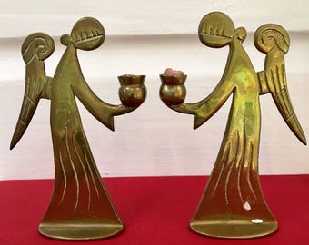 Vintage brass Christmas angel candle holder pair