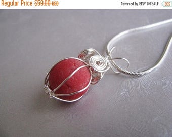 SEA GLASS SALE Sea Glass Marble Pendant - Rare Red Melon - Beach Glass Jewelry - Authentic Genuine Ocean Jewelry Gifts of the Sea
