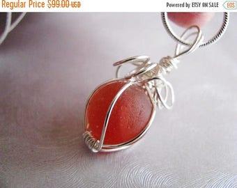SEA GLASS SALE Sea Glass Marble Pendant - Rare Orange Red Melon Coral - Sea Glass Pendant - Beach Glass Jewelry