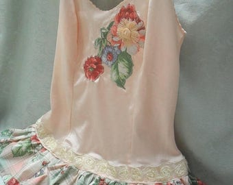 36% OFF Closet Cleaning TOP Cami Tank Whimsical Romantic Boho Ruffles Lace Flowery - Peach and Flowery