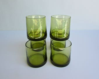 Italian Modern, 6 Hand-Blown Modern Olive-Green Short Glasses for Red-Wine, Vintage Mid Century Barware Made in Italy