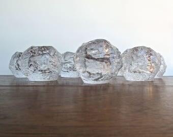 Ann Wärff Designed Kosta Boda Large Snowball Votive Candleholders, 6 Available, Scandinavian Mid Century Art Glass