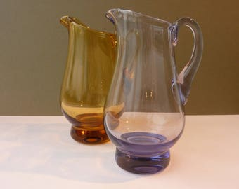 Vintage Pair of Glass Jugs in Translucent Amber and Lilac - Small Flower Vases