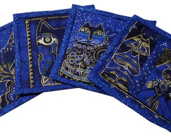 Laurel Burch Cats Quilted Coasters in Blue and Gold