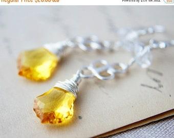 Summer Sale Yellow Chandelier Earrings Silver Crystal Dangle PoleStar Sunshine Summer