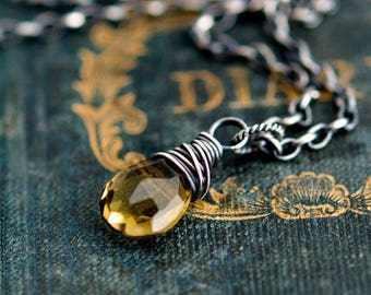 Quartz Earrings, Olive Quartz Jewelry, Drop Earrings, Wire Wrapped, Sterling Silver, November Birthstone, Birthstone Earrings , PoleStar