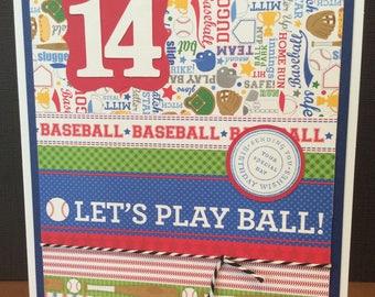 Kid's Custom Baseball Birthday Card, Birth Age Card, Baseball Birthday Card, Jersey Number Card, Kid's Sports Birthday Card, Customized