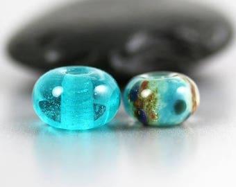 10% OFF SALE Lampwork Glass Beads - Aqua Pair - Lampwork Beads - Aqua Brown