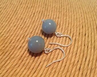 Angelite dangle earrings with silver earwires, baby blue earrings , pastel blue earrings, designsbylucy