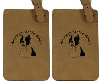 American Staffordshire Head Luggage Tag 2 Pack L1258