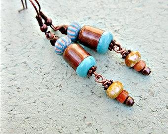 Earrings, Beaded Copper and Turquoise Dangles: Sarasota