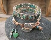 Turquoise earthy Bracelet, Beaded leather bracelet,double wrap, stacking bracelet,beaded leather wrap,Picasso ,bohemian bracelet