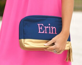 Navy Cabana Cosmetic Bag~Preppy Monogrammed Cosmetic Bag~Travel Pouch~Personalized Make Up Bag~ Accessory Bag