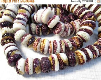 SALE 20% Off Natural Spiny Oyster Purple Rondelle Beads 15mm, Purple Orange Shell Natural Color,