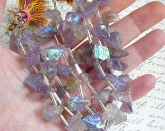 20% OFF SALE Mystic Ametrine Nugget Briolette  Beads,  Aqua aura Hammared Raw Nugget Beads