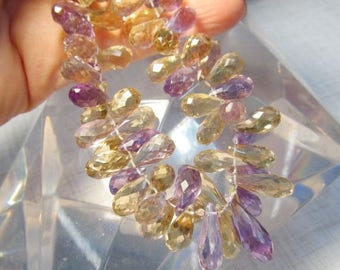SALE Out Of TOWN Natural Ametrine Briolette Beads 12mm 14mm 16mm 18mm, 8 1/2 Inches,  Elongated Amethyst Citrine Purple Gold Gemstone