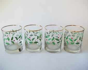 Lenox Holiday Dimension Holly Double Old Fashioned Crystal Glasses, Set of 4, USA 1970s