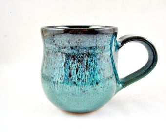 Handmade Pottery Mug, Ceramic mug in teal blue, Stoneware coffee mug 15 oz. - In stock TB-01
