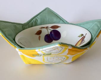 Microwave bowl Cozy - microwave grabber - microwave bowl holder  - Lemons print , kitchen accessory
