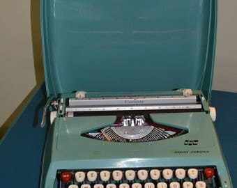 Mid-Century Turquoise Smith- Corona  Portable Typewriter
