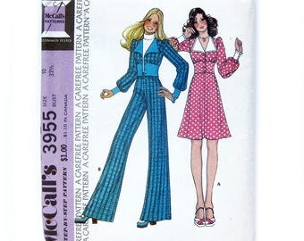 Vintage Sewing Pattern / Wide Leg Pants, Skirt and Fitted Midriff Blouse with Puff Sleeves / Mod Style / McCall's 3955/ Size 10 UNCUT FF