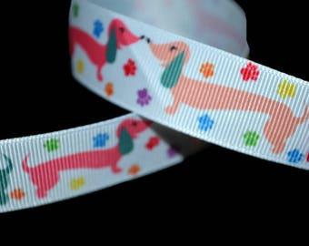 Dachshund Ribbon, Wiener Dog Ribbon, Dog Leash Ribbon, Lanyard Ribbon, Dog Grosgrain, Hot Dog Ribbon, Cute Puppy Ribbon, Dog Breed Ribbon