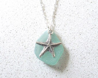 "Sea Foam Blue Green Sea Glass 18""-20"" adjustable necklace with Sterling Silver Starfish Charm"