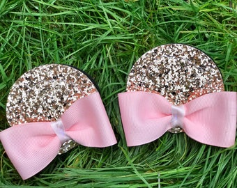 ROSE GOLD Minnie Mouse Ear Hair Clips with bows Custom Sewn Size Small Pink and Gold Minnie Mouse Headband Blush Removeable Clips