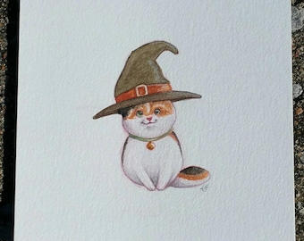 Cute Witch Cat 5x5 watercolor