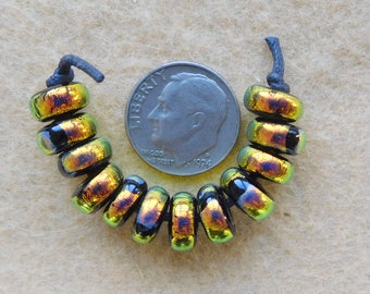 12 Bright Gold Dichroic Lampwork Mini Spacer Beads handmade by Dee Howl Beads