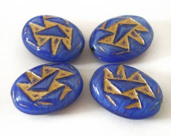 18x12 Blue Gold triangle oval etched czech glass beads 6pcs