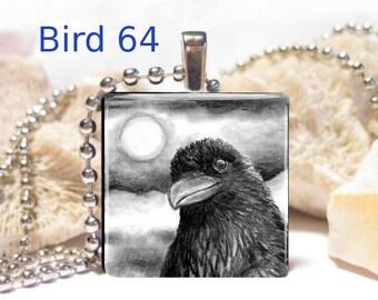 Wood Pendant 1x1 Jewelry Necklace Bird Crow Raven Choose design art painting by L.Dumas
