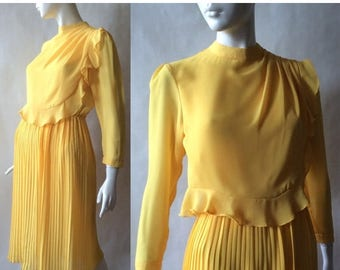 MOVING SALE 1980's buttercup dress in a soft fluttery 1940's style, golden yellow semi sheer crepe with layered ruffled bodice, long sleeve,