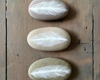 White Feathers - Painted Stones - Beach Pebble, Nature, Rock Art - Available Individually - by Natasha Newton