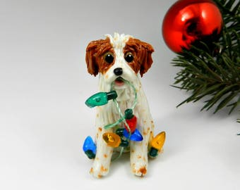 Brittany Dog Orange Christmas Ornament Figurine Handmade Porcelain