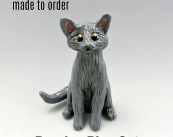 Russian Blue Cat Christmas Ornament Figurine Made to Order in Porcelain