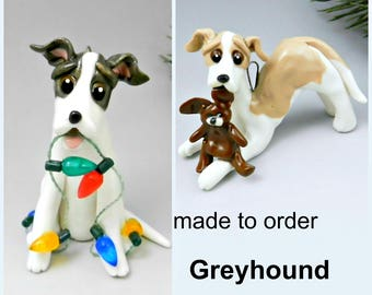 Greyhound Made to Order Christmas Ornament Figurine in Porcelain