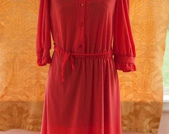 Vintage Dress - 80s Red Stripe Ruffle Neck
