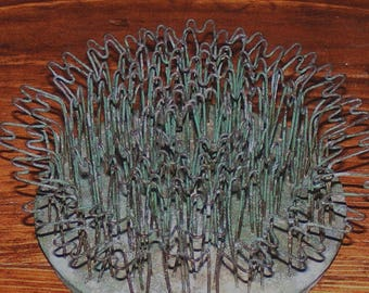 Vintage Large Green Hairpin Flower Frog Spike Blue Ribbon Flower Holder Co Galvanized Metal