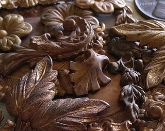 16pc Lot Genuine Antique Old Victorian Cast Die Stuck Stamping Ornate Flowers Leaves Art Craft Hardware Vintage Raw Bare Brass Patina OOAK9