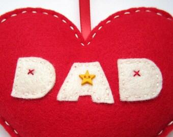 I love DAD - Handmade Red Felt Love Heart