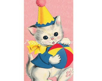 Animals 7 a Sweet Birthday Kitten without the Sentiment Tag a Digital Image from Vintage Greeting Cards - Instant Download