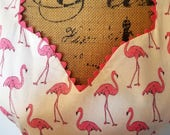 Reversible Pink Flamingos with Sundial Design Matching Fabric Full Length (Adult Sweetheart or Bib and Adult Plus Sizes, Child, Baby & Doll)