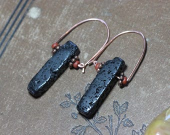 Lava Stone Earrings Rough Stick Copper Hoop Black Diffuser Earrings Luxe Boho Rustic Jewelry